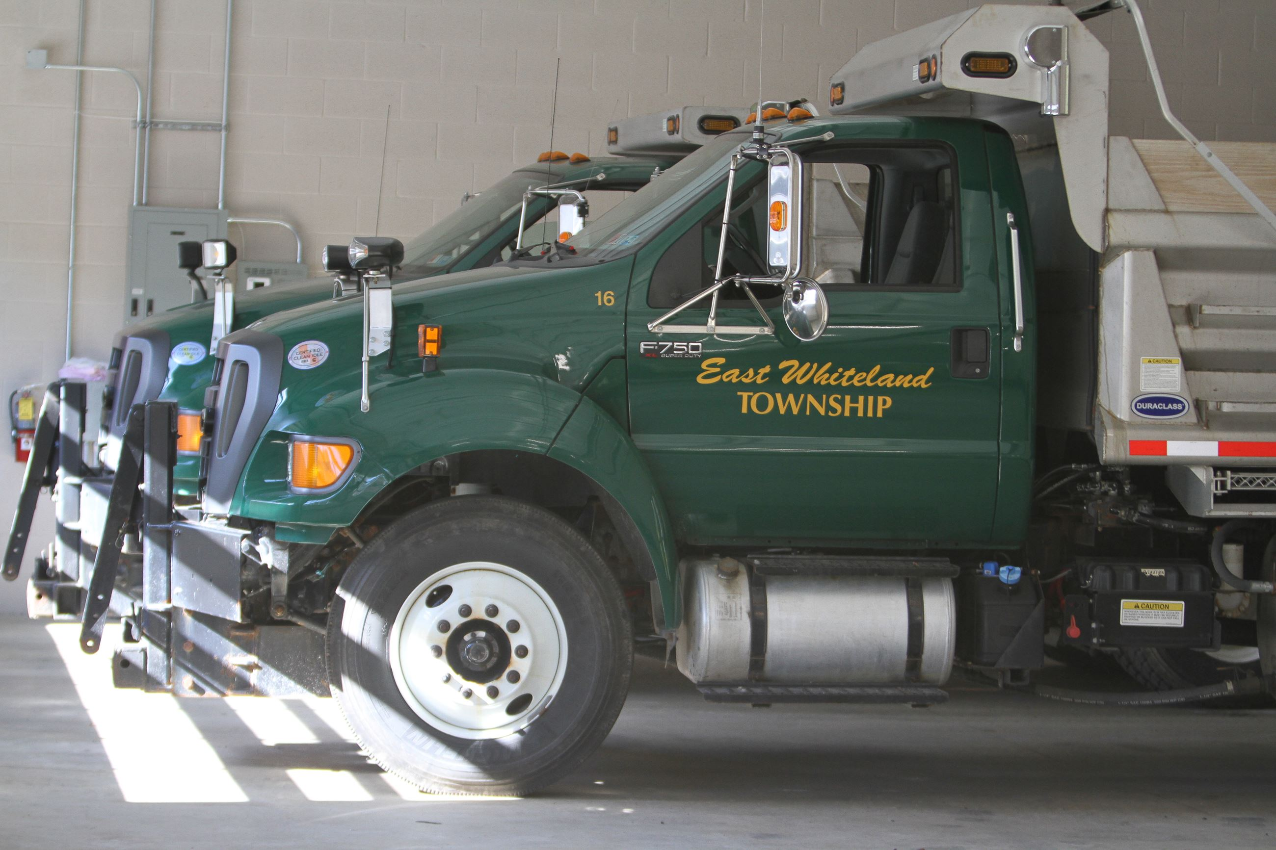 Trucks in Public Works Garage